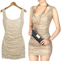 GORGEOUS BNWT BEIGE LACE SLEEVELESS PARTY MINI-DRESS, UK SIZE 10