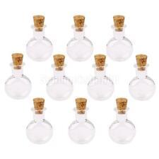 10pcs Mini Flaschen Glasflasche Wishing Glasfläschchen mit Korken Flache Rund