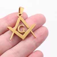 Gold Masonic Mason Watch Chain Fob or Pendant Square and Compasses Freemason