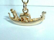 14k YELLOW GOLD 3D GONDOLA BOAT VENICE PENDANT CHARM