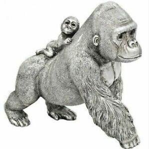 Silver GORILLA Mum & Baby Metal Ornament Figure Figurine Statue Gift Boxed 19cm