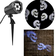 Gemmy Projection Lightshow LED Whirl-a-motion Halloween Scary Skulls white shape