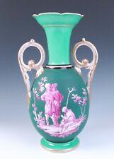 🟢 Antique French Empire Green Ground Puce Portrait Vase Old Paris Porcelain Urn