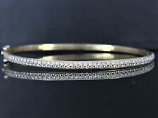 14K Yellow Gold 94 Pave Set Round 0.99ct Diamond 6.5'' Bangle Bracelet