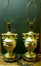 Capodimonte Pair Of 2 Cherub Lamps Circa 1940's