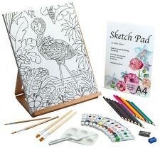 38-Piece Acrylic Paint Set Including Paints, Colored Pencils, Canvas, and More