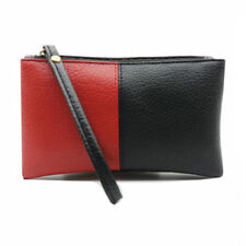 CLUTCH BAG PURSE BLACK RED WITH WRIST STRAP LINED INTERIOR FAUX LEATHER WRISTLET