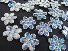 50 Silver Hologram Glitter Applique/bow/embellishment/holiday/Craft L28-Flower