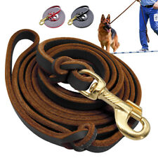 Leather Slip Leads for Dogs Braided Pet Training Show Leash K9 Black Brown Red