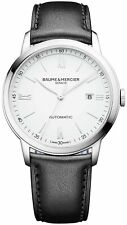 Baume & Mercier Classima Automatic White Dial Black Leather Mens Watch MOA10332
