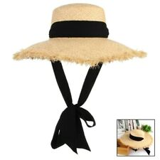 Handmade Weave Raffia Sun Hat Women Black Ribbon Lace Up Large Brim Straw Hat