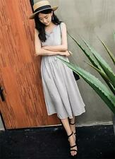 Vintage Womens Cotton Linen Loose A Line Tunic Summer Long Maxi Sundress Dress
