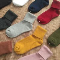 1 Pair Women 80% Cotton Blend Loose Socks Knee-High/Turn Cuff Socks Free Size