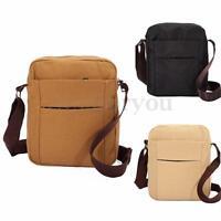 Men's Vintage Canvas Leather Satchel Small Shoulder Bag Travel Messenger Bag