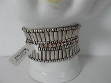 Ann Taylor LOFT Silver Pink Crystal Egyptian Stretch bracelet NWT $29.50