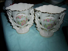 Vintage - Vase - Pink Flower Pattern - Usa On Bottom