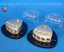 Pair of Power & Ground Distribution Blocks 1/0 0 Gauge 4 Awg 1 In 4 Out