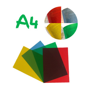 4x A4 Assorted Coloured Overlays -Visual Stress Dyslexia Reading Aid PVC Sheets