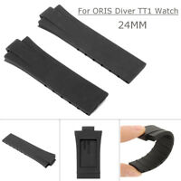 24MM Replacement Black Rubber Wrist Band Strap For ORIS Diver TT1 Watch # *