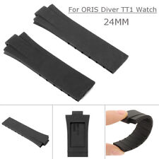 24MM Replacement Black Rubber Wrist Band Strap For ORIS Diver TT1 Watch