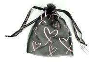 Victoria's Secret Drawstring Mesh Lingerie Pouch Gift Bag Black Pink Hearts