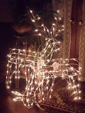 "CHRISTMAS 48"" OUTDOOR LIGHTED ANIMATED BUCK & DOE DEER REINDEER FIGURE YARD SET"