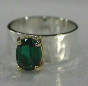 James Avery Julietta Ring with Emerald in Sterling Silver & 14k Gold Size 5