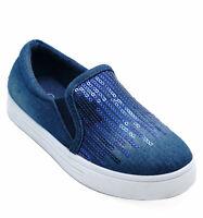 KIDS DARK BLUE DENIM SLIP-ON COMFY PLIMSOLL PUMPS SEQUIN TRAINERS SHOES SIZE 8-1