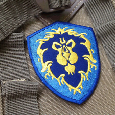 World of Warcraft ALLIANCE 3 Game EMBROIDERED Hook PATCH Morale Badge