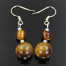 natural tiger eye gemstone beads silver plated dangle earrings 6mm 10mm FREE
