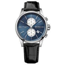 NEU Hugo Boss Herren Jet Schwarz Lederarmband Chronograph Uhr 1513283