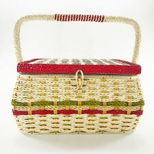 Vintage Sewing Basket Box Japan Woven Rope Silk Interior Tray Beatles Flowers