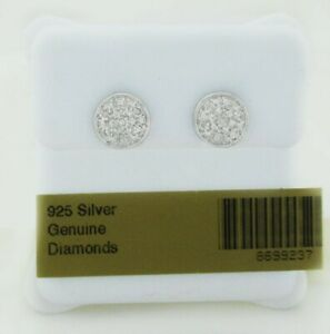 GENUINE DIAMONDS STUD EARRINGS .925 Sterling Silver * NEW WITH TAG *