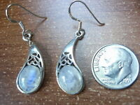 Moonstone Curved Filigree Dangle Earrings 925 Sterling Silver Corona Sun c23a