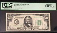 1934B $50 FEDERAL RESERVE NOTE, BANK OF CLEVELAND, MULE JULIAN-VINSON PCGS 63PPQ