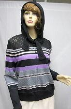 St John Knit COLLECTION NWOT Jacket hooded Gray Purple Silver SZ 6 8