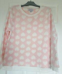 Excellent Condition Pink Love Heart Print Fleece Pyjama Top Size 14-16