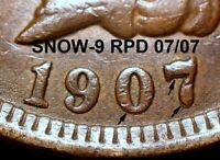 1907 Indian Head Cent - EXTREMELY FINE, SNOW-9 REPUNCHED DATE 07/07 (K830)