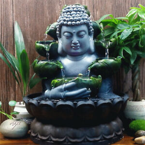 Flowing Water LED Fountain Resin Buddha Statue Feng Shui Ornament Home Decor