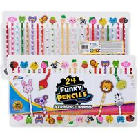 Grafix 24 Funky Pencils Fun Eraser Toppers Kids Animal Fruit Cute Stationery Set