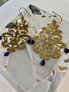 Amethyst Drops Chandelier Gold Plated Earrings