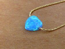 Opal heart necklace, heart necklace, gold necklace, opal necklace, blue opal