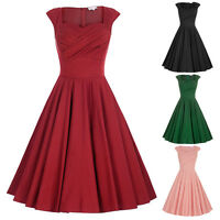40s 50s Retro Vintage Swing Pin Up Flared Pin Up PARTY Dress Tea Ball Gown Prom