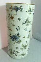"""Vintage Japanese Porcelain Wig Stand Cylinder Vase 10.5"""" Blue Floral Gold Trim"""