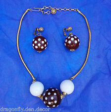 Vintage Mod Polkadot Brown & White Bead Chain Necklace w Matching Clip Earrings