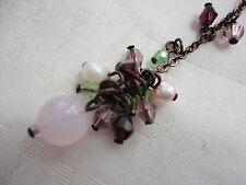 Signed VIRGIN VIE freshwater pearl rose quartz glass brasstone 8 gram necklace