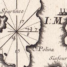 Carte Géographique XVIIIe Milos Spartineo Cyclades Grèce Mélos Μήλος Мілос