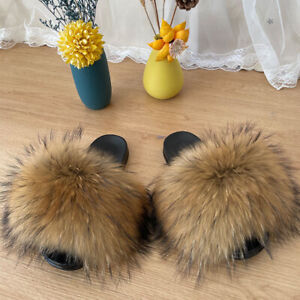 2021 New Style Women's Real Fox Fur Slides Furry Slipper Smmer Sandels Sliders