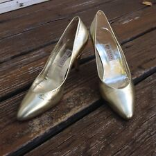 Gucci Logo Gold Leather Pointy Toe Pumps EU 37.5 7.5 B High Heels Womens Shoes