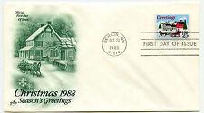 2400 Christmas 1988, Winter Scene, ArtCraft FDC